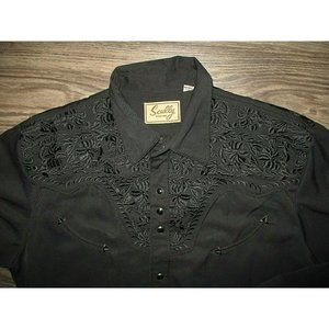 Scully Black Thick MEDIUM Embroidered Floral Weste